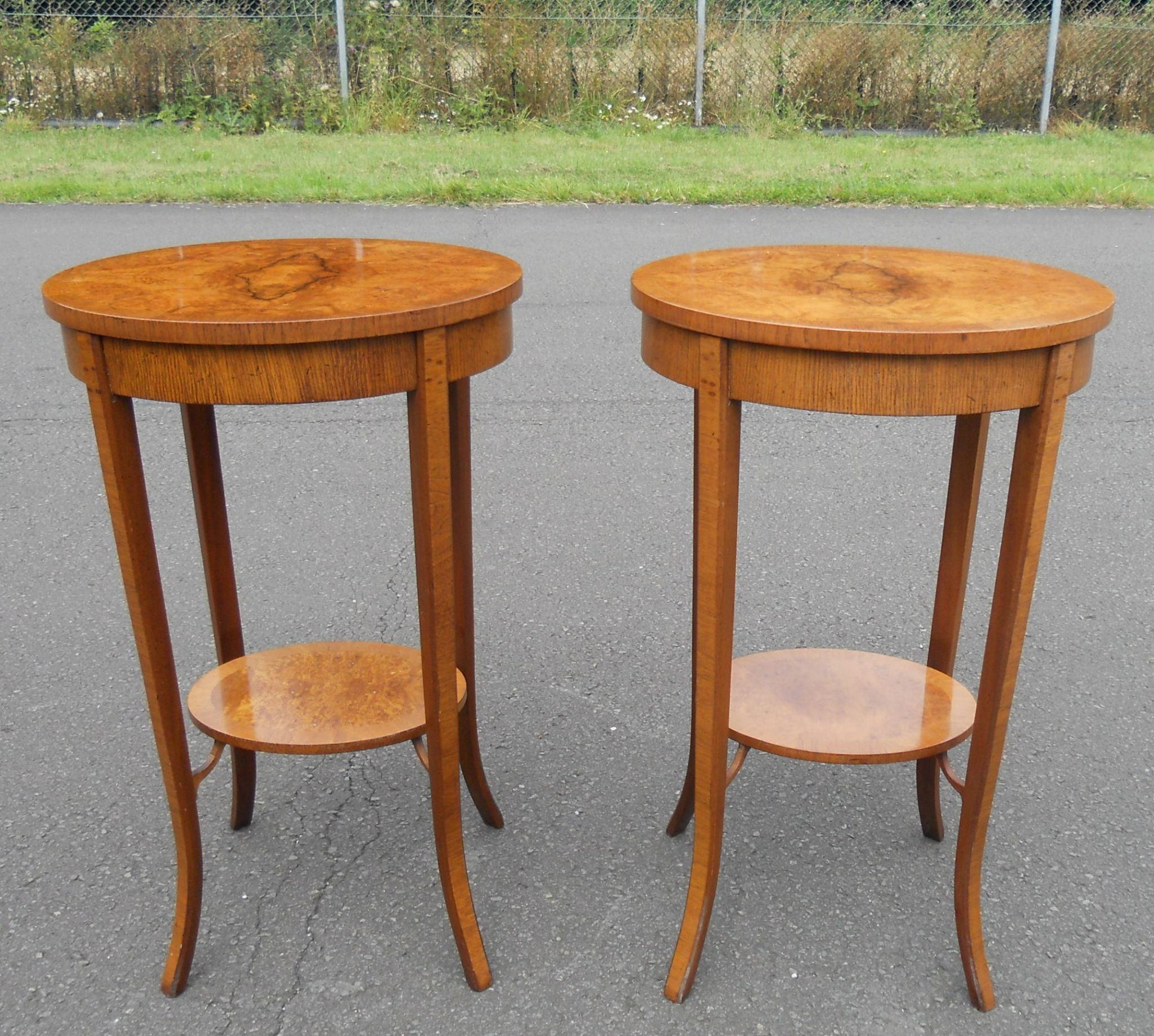 Sold pair oval top burr walnut lamp tables aloadofball Images